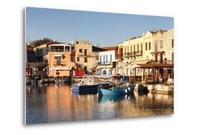 Old Venetian Harbour, Taverns on Seaside, Rethymno (Rethymnon)-Markus Lange-Metal Print