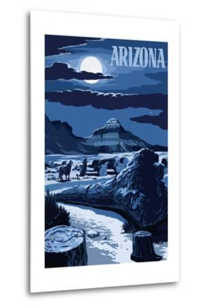 Arizona - Wolves and Full Moon at Night-Lantern Press-Metal Print