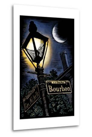 Bourbon Street - New Orleans, Louisiana - Scratchboard-Lantern Press-Metal Print
