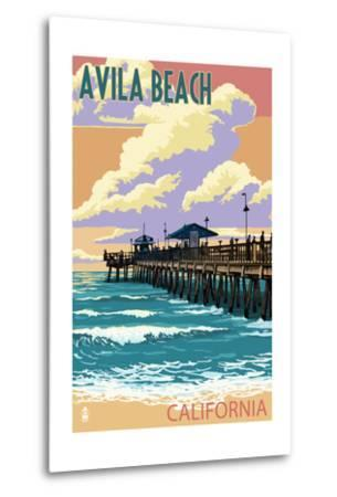 Avila Beach, California - Pier Sunset-Lantern Press-Metal Print
