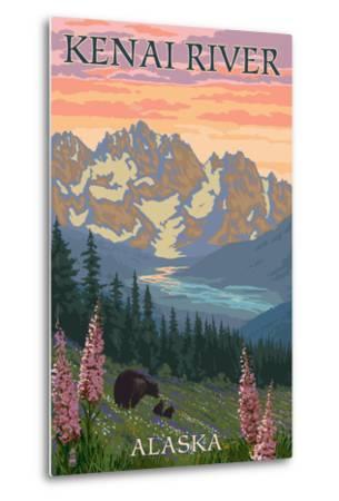 Kenai River, Alaska - Bear Family and Flowers-Lantern Press-Metal Print