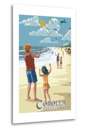 Corolla, North Carolina - Kite Flyers-Lantern Press-Metal Print
