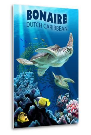 Bonaire, Dutch Caribbean - Sea Turtle Swimming-Lantern Press-Metal Print