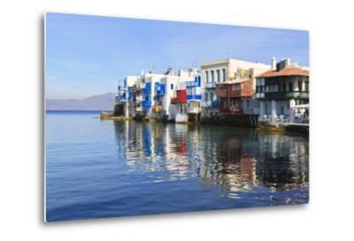 Little Venice Reflections, Mykonos Town (Chora), Mykonos, Cyclades, Greek Islands, Greece, Europe-Eleanor Scriven-Metal Print