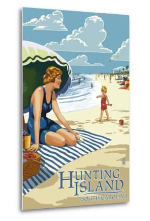 Hunting Island, South Carolina - Woman on Beach-Lantern Press-Metal Print