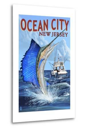 Ocean City, New Jersey - Sailfish Deep Sea Fishing-Lantern Press-Metal Print