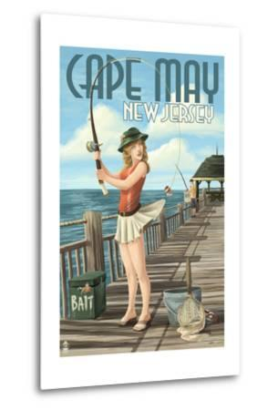 Cape May, New Jersey - Fishing Pinup Girl-Lantern Press-Metal Print