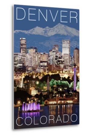 Denver, Colorado - Skyline at Night-Lantern Press-Metal Print