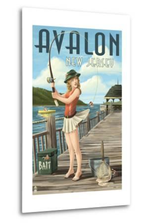 Avalon, New Jersey - Fishing Pinup-Lantern Press-Metal Print