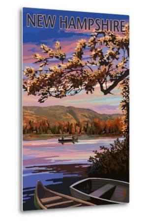 New Hampshire - Lake at Dusk-Lantern Press-Metal Print