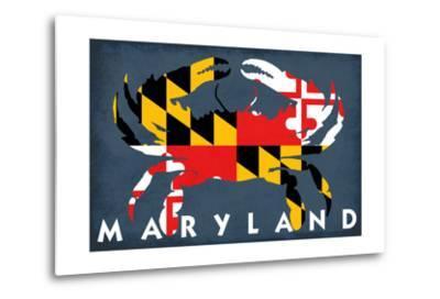 Maryland - Crab Flag-Lantern Press-Metal Print
