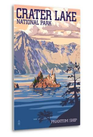 Crater Lake National Park, Oregon - Shoreline and Sunset-Lantern Press-Metal Print