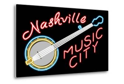 Nashville, Tennesse - Neon Banjo Sign-Lantern Press-Metal Print