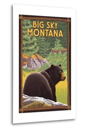 Big Sky, Montana - Bear in Forest-Lantern Press-Metal Print