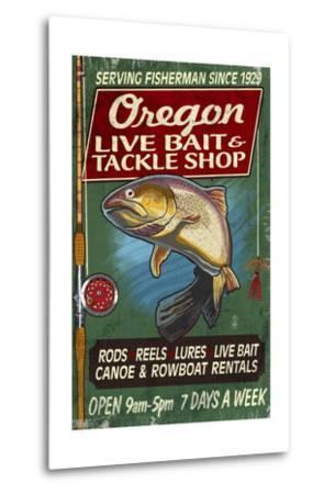 Oregon - Tackle Shop Trout Vintage Sign-Lantern Press-Metal Print