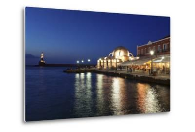 Lighthouse at Venetian Port and Turkish Mosque Hassan Pascha at Night, Chania, Crete-Markus Lange-Metal Print
