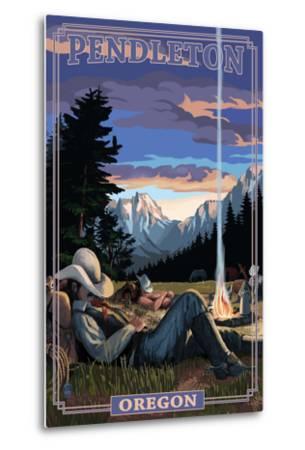 Cowboy Camping Night Scene - Pendleton, Oregon-Lantern Press-Metal Print