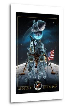 Apollo 11 - Lander and Astronauts-Lantern Press-Metal Print