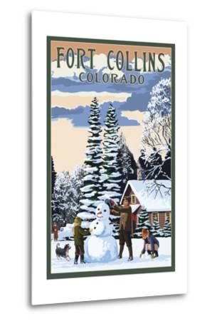 Fort Collins, Colorado - Snowman Scene-Lantern Press-Metal Print