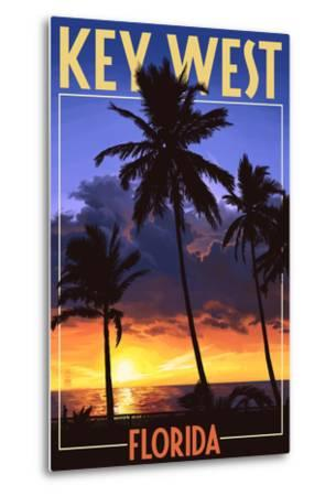 Key West, Florida - Palms and Sunset-Lantern Press-Metal Print