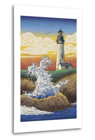 Lighthouse - Woodblock Print-Lantern Press-Metal Print