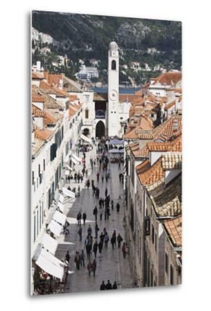 View Down Stradun, UNESCO World Heritage Site, Dubrovnik, Croatia, Europe-Jean Brooks-Metal Print
