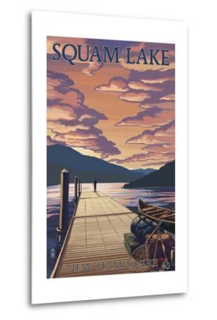 Squam Lake, New Hampshire - Dock and Sunset-Lantern Press-Metal Print