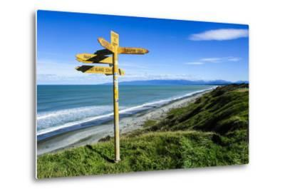 Signpost on Te Waewae Bay, Along the Road from Invercargill to Te Anau, South Island-Michael Runkel-Metal Print