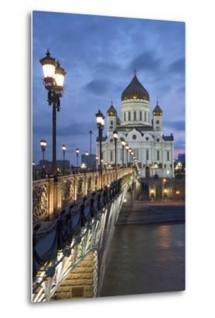 Bridge over the River Moscova and Cathedral of Christ the Redeemer at Night, Moscow, Russia, Europe-Martin Child-Metal Print
