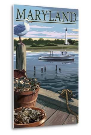 Maryland - Blue Crab and Oysters on Dock-Lantern Press-Metal Print