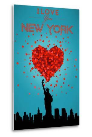I Love You New York City, NY-Lantern Press-Metal Print