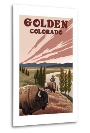 Golden, Colorado - Bison and River-Lantern Press-Metal Print
