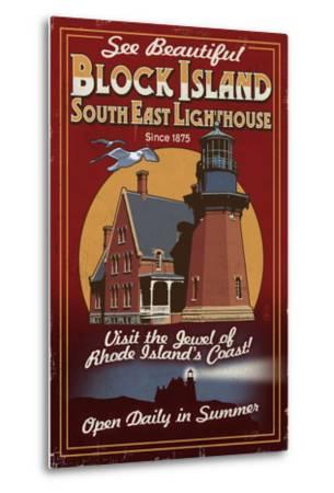 Block Island, Rhode Island - Lighthouse Vintage Sign-Lantern Press-Metal Print