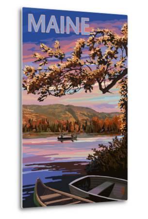 Maine - Lake at Dusk-Lantern Press-Metal Print