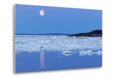 Full Moon and Melting Sea Ice, Repulse Bay, Nunavut Territory, Canada-Paul Souders-Metal Print