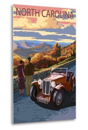North Carolina - Sunset Mountain View-Lantern Press-Metal Print