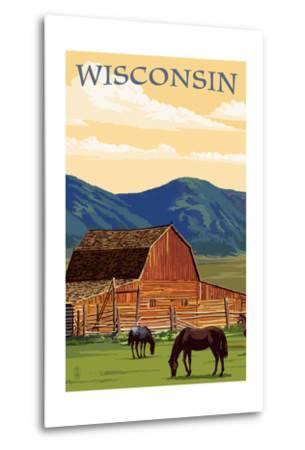 Wisconsin - Red Barn and Horses-Lantern Press-Metal Print