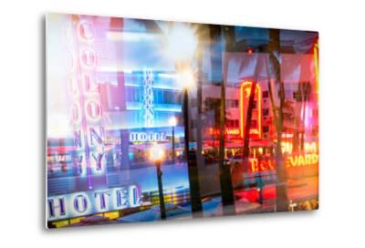 Instants of Series - Art Deco Architecture of Ocean Drive by Night - Miami Beach - Florida-Philippe Hugonnard-Metal Print