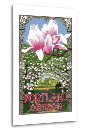 Portland, Oregon - Garden and Magnolia Scene-Lantern Press-Metal Print