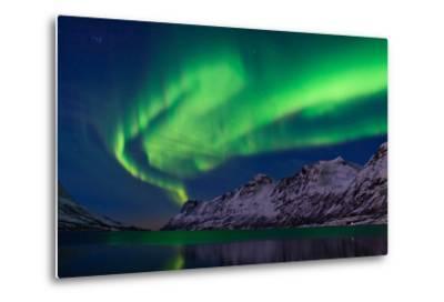 The Aurora Borealis over Water and Mountains-Babak Tafreshi-Metal Print