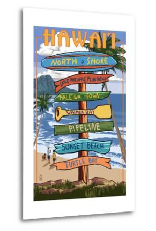 North Shore, Oahu, Hawaii - Sign Destinations-Lantern Press-Metal Print