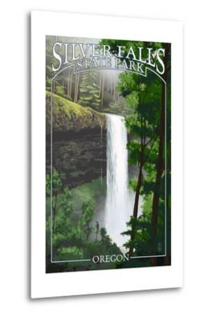 Silver Falls State Park, Oregon - South Falls-Lantern Press-Metal Print