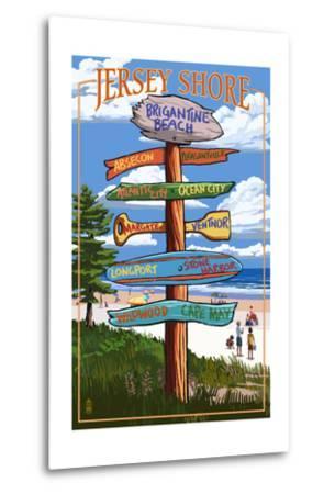 Brigantine Beach, New Jersey - Destinations Signpost-Lantern Press-Metal Print