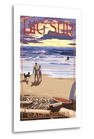 Big Sur, California - Sunset Beach Scene-Lantern Press-Metal Print