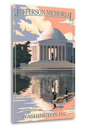 Washington, DC - Jefferson Memorial-Lantern Press-Metal Print