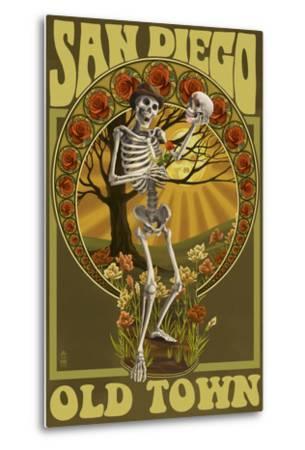 Old Town - San Diego, California - Day of the Dead Sugar Skull-Lantern Press-Metal Print