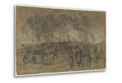 Union Soldiers Bury their Comrades and Burn their Horses after the Battle of Fair Oaks- Library Of Congress-Metal Print