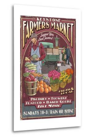Keystone, Colorado - Farmers Market Vintage Sign-Lantern Press-Metal Print