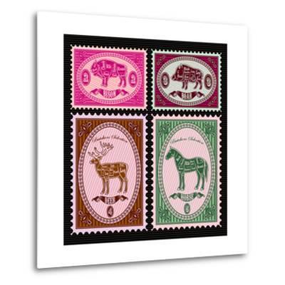 Set of Vector Postage Stamps with Boar, Bison, Deer, Horse-111chemodan111-Metal Print