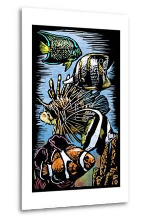 Tropical Fish - Scratchboard-Lantern Press-Metal Print